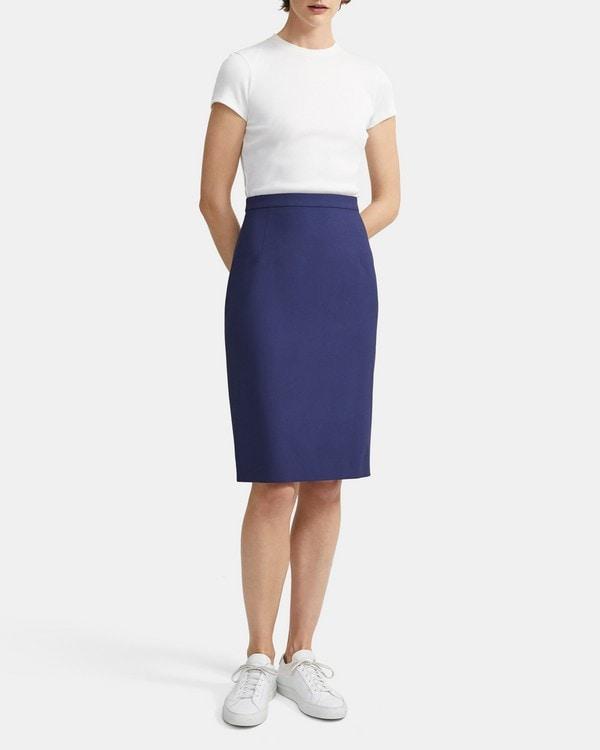 띠어리 Theory Classic Skirt in Good Wool,SEA BLUE