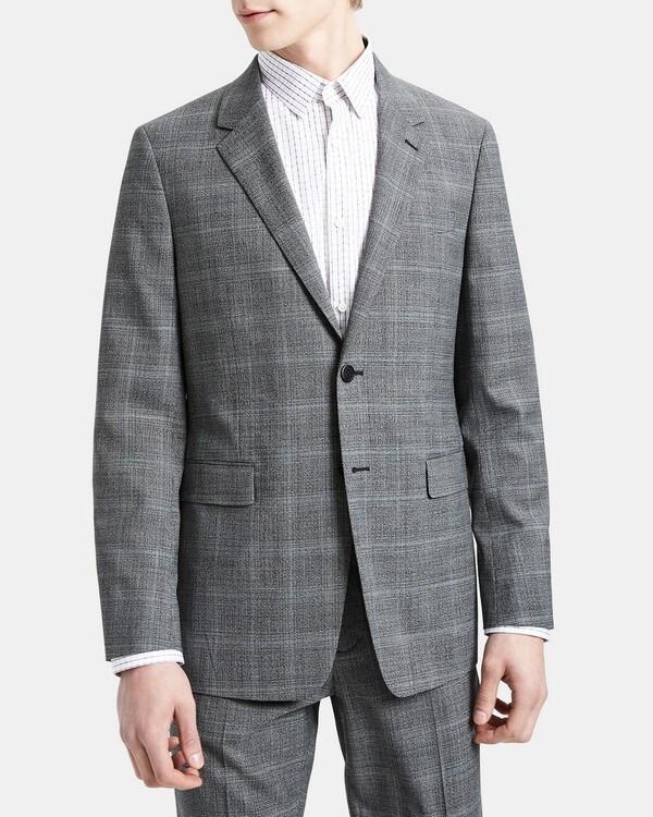 띠어리 맨 자켓 Theory Structured Jacket in Wool Plaid,BLACK MULTI