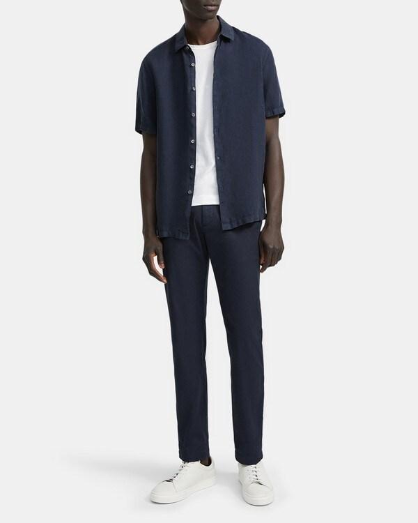 띠어리 Theory Standard-Fit Short-Sleeve Shirt in Summer Linen,ECLIPSE