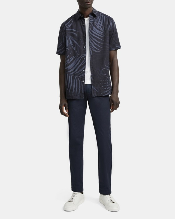 띠어리 Theory Menlo Short-Sleeve Shirt in Palm Print Stretch Cotton,ECLIPSE MULTI