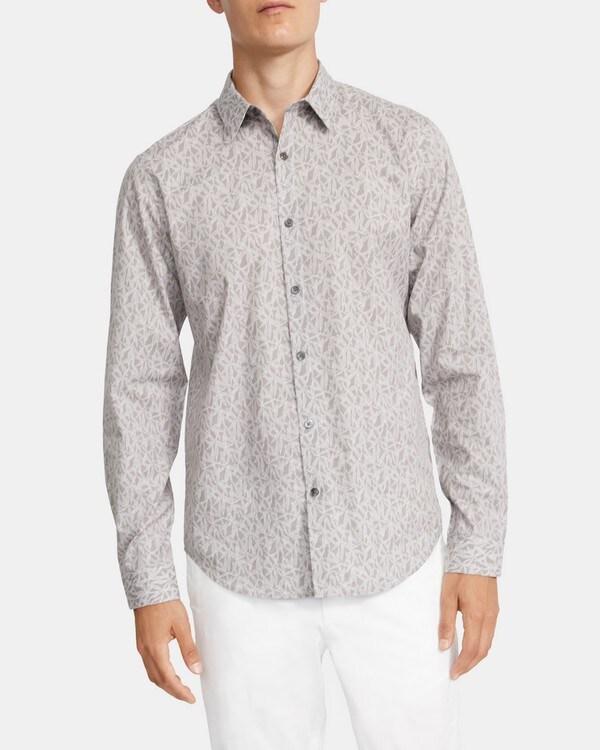 띠어리 맨 스탠다드핏 셔츠 Theory Standard-Fit Shirt in Leaf Print Cotton-Viscose,GREY MULTI