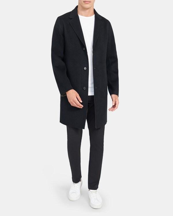 띠어리 맨 테일러드 코트 Theory Tailored Coat in Double-Face Wool-Cashmere,BLACK/BARK