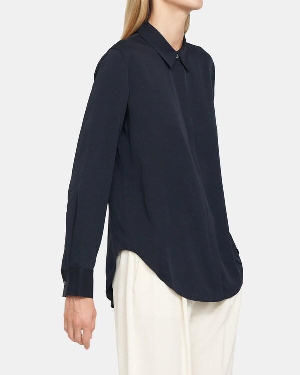 Theory Sunaya Shirt In Stretch Silk