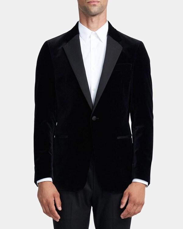 띠어리 맨 챔버스 턱시도 셋업 자켓 Theory Chambers Tuxedo Blazer in Velvet,BLACK