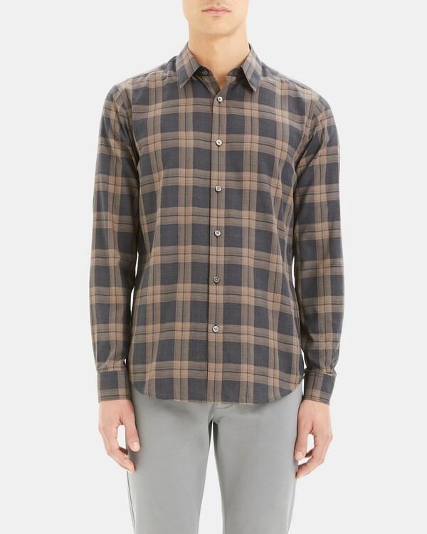 띠어리 Theory Phoenix Shirt in Plaid Cotton,CAMEL CHECK