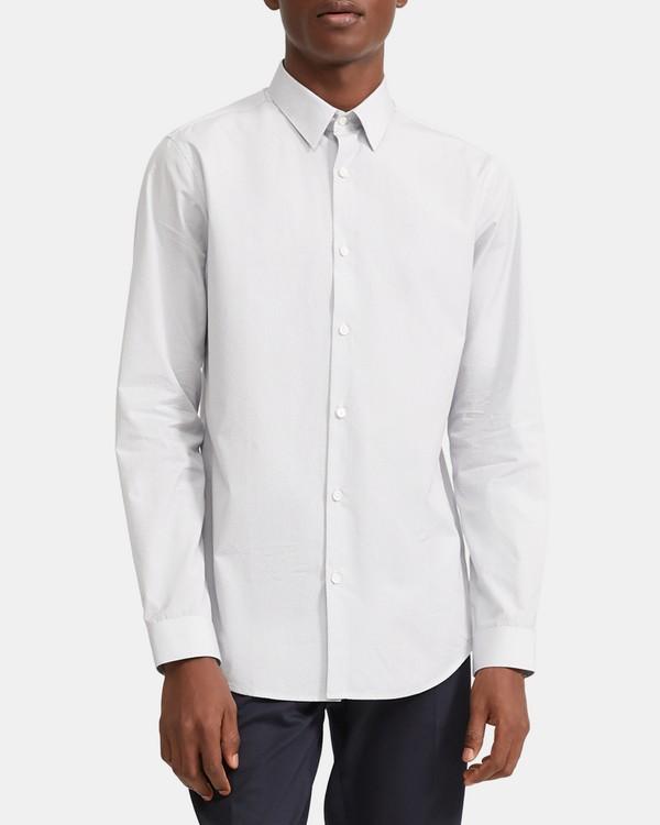 띠어리 맨 세드릭 셔츠, 레티스 프린트 Theory Cedrick Shirt in Lattice Print Cotton,ECLIPSE MULTI