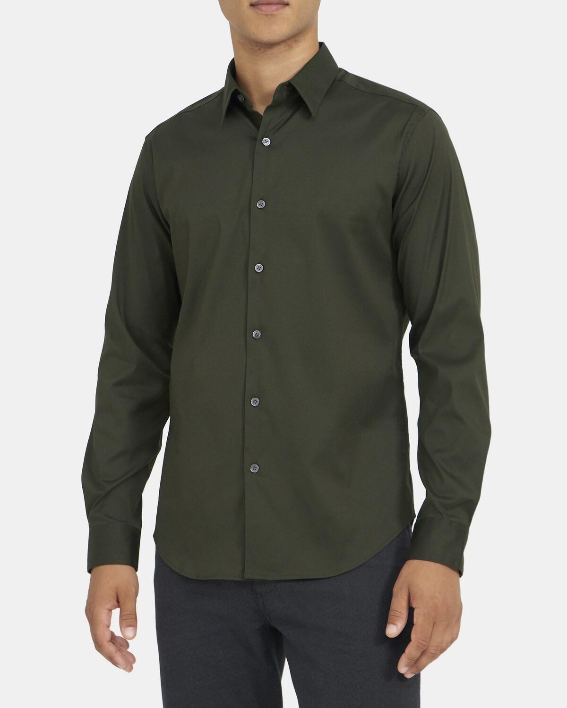 띠어리 맨 테일러드 셔츠 Theory Tailored Shirt In Stretch Cotton,HUNTER