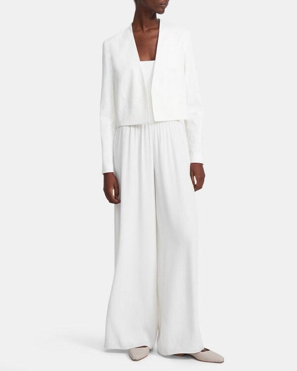 띠어리 Theory Collarless Blazer in Good Linen,WHITE