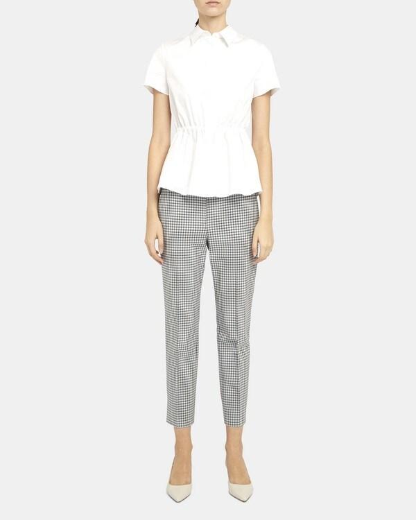 띠어리 Theory Cinched Short-Sleeve Shirt in Stretch Cotton,WHITE
