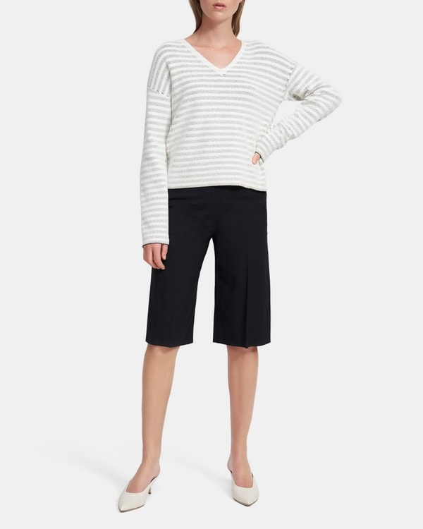 Theory V-Neck Sweater in Striped Boucle