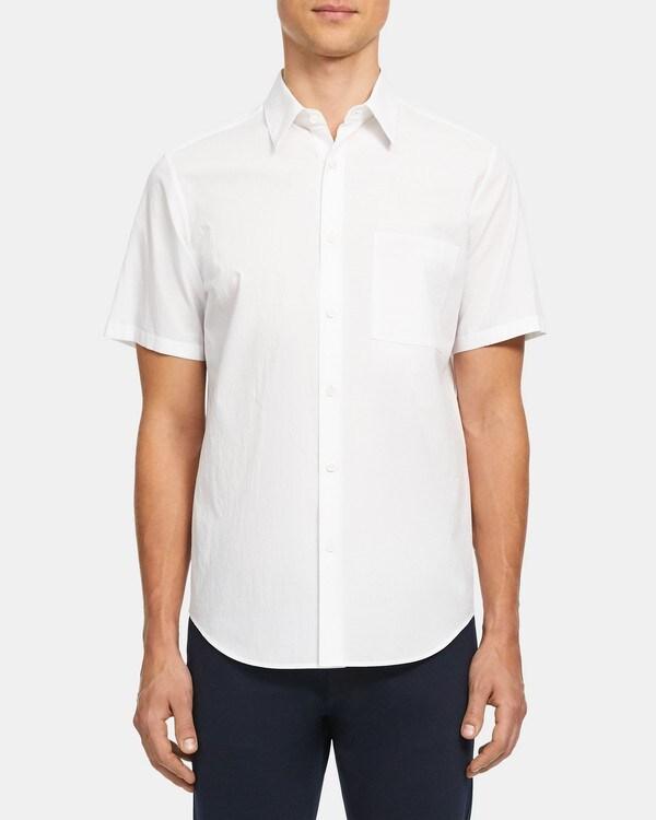 띠어리 Theory Irving Short-Sleeve Shirt in Grid Cotton,WHITE