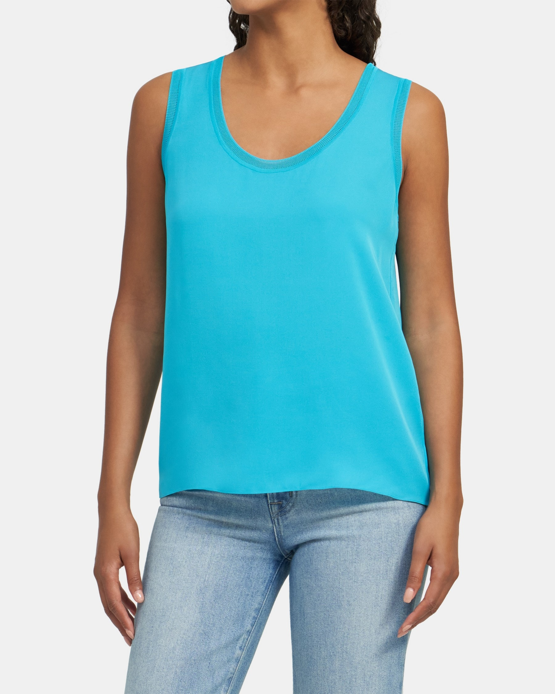 Theory Ribbed Trim Scoop Tank Top in Silk