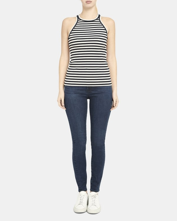 Theory Racerback Tank Top in Striped Ribbed Knit