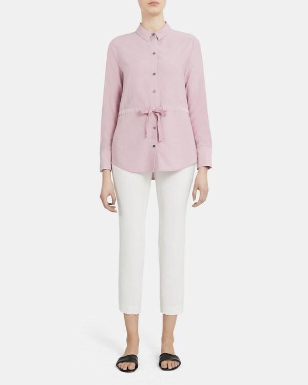띠어리 Theory Tie Waist Button-Up Shirt in Viscose Twill,DUSTY LILAC