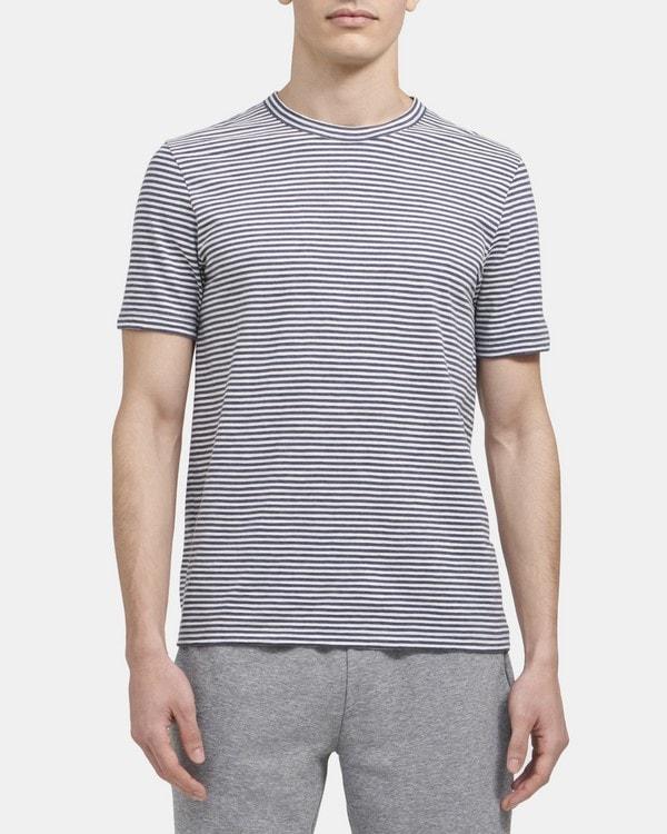 띠어리 Theory Crewneck Tee in Striped Cotton,DK ASTRAL/WHITE