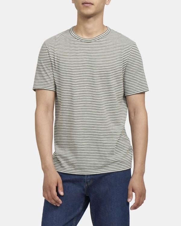 띠어리 Theory Crewneck Tee in Striped Cotton,HUNT/WHITE