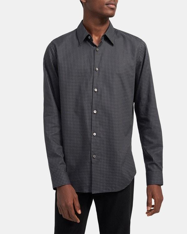 띠어리 Theory Standard-Fit Shirt in Flannel Gingham,CHARCOAL MULTI