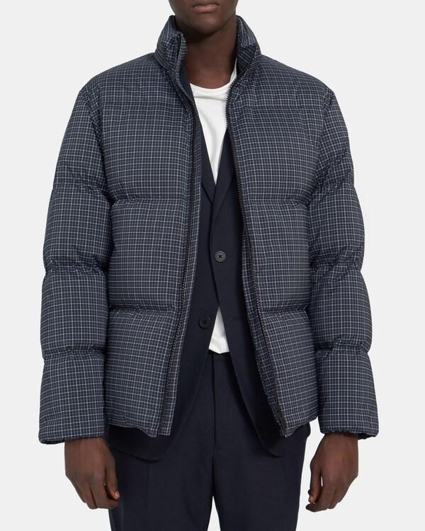 띠어리 Theory Fulton Puffer Coat in Technical Check,NAVY/WHITE