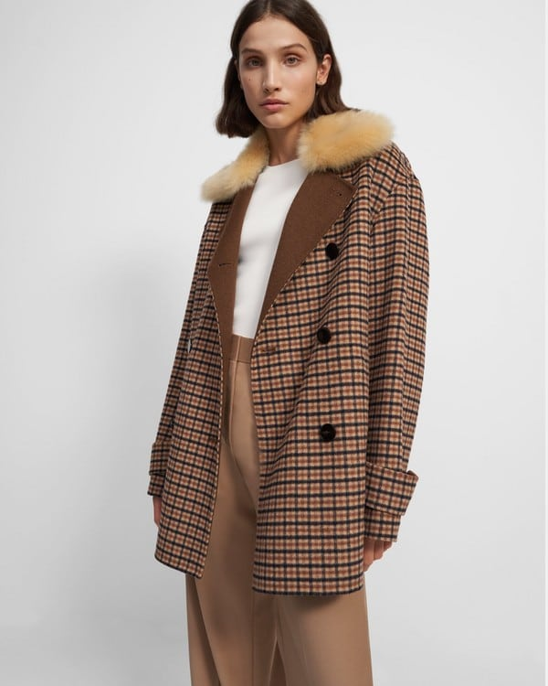 Theory Utility Peacoat in Recycled Plaid Wool