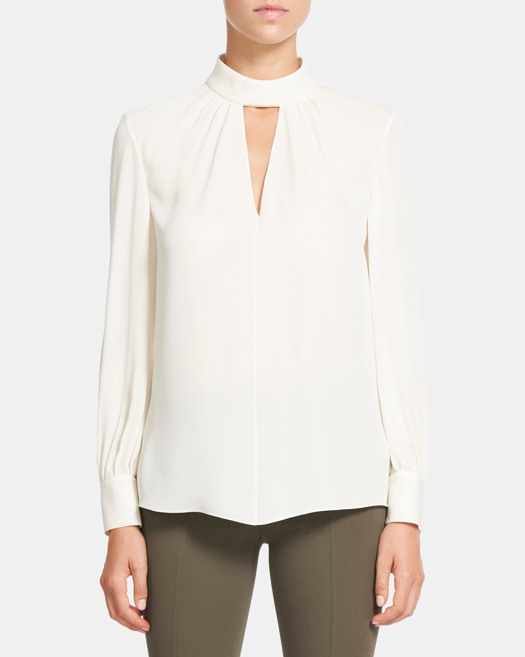 Theory Neck Band Blouse in Silk Georgette