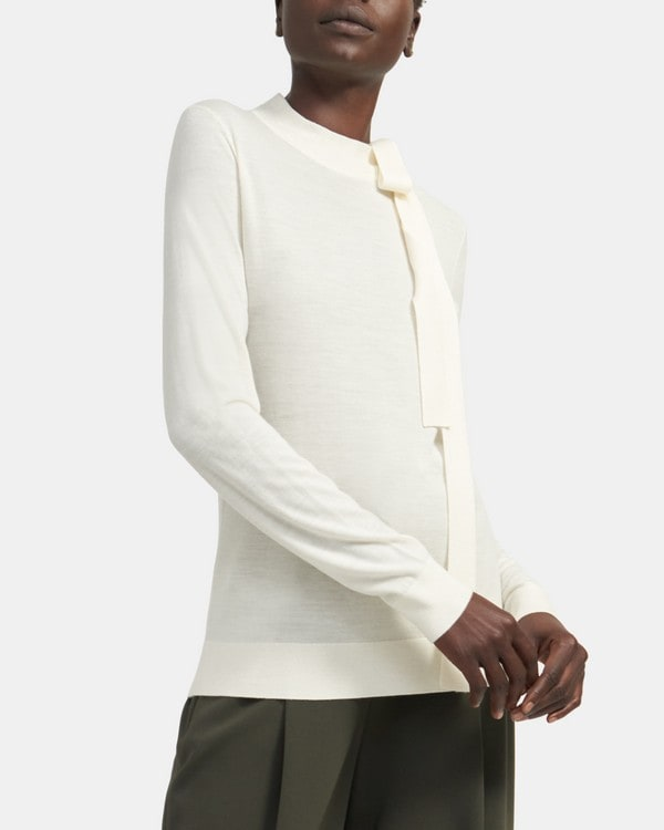 Theory Tie-Front Pullover in Ace Wool