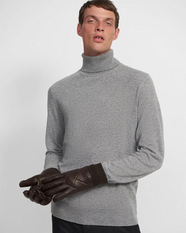 띠어리 장갑 Theory Quilted Gloves in Oiled Leather,TEAK