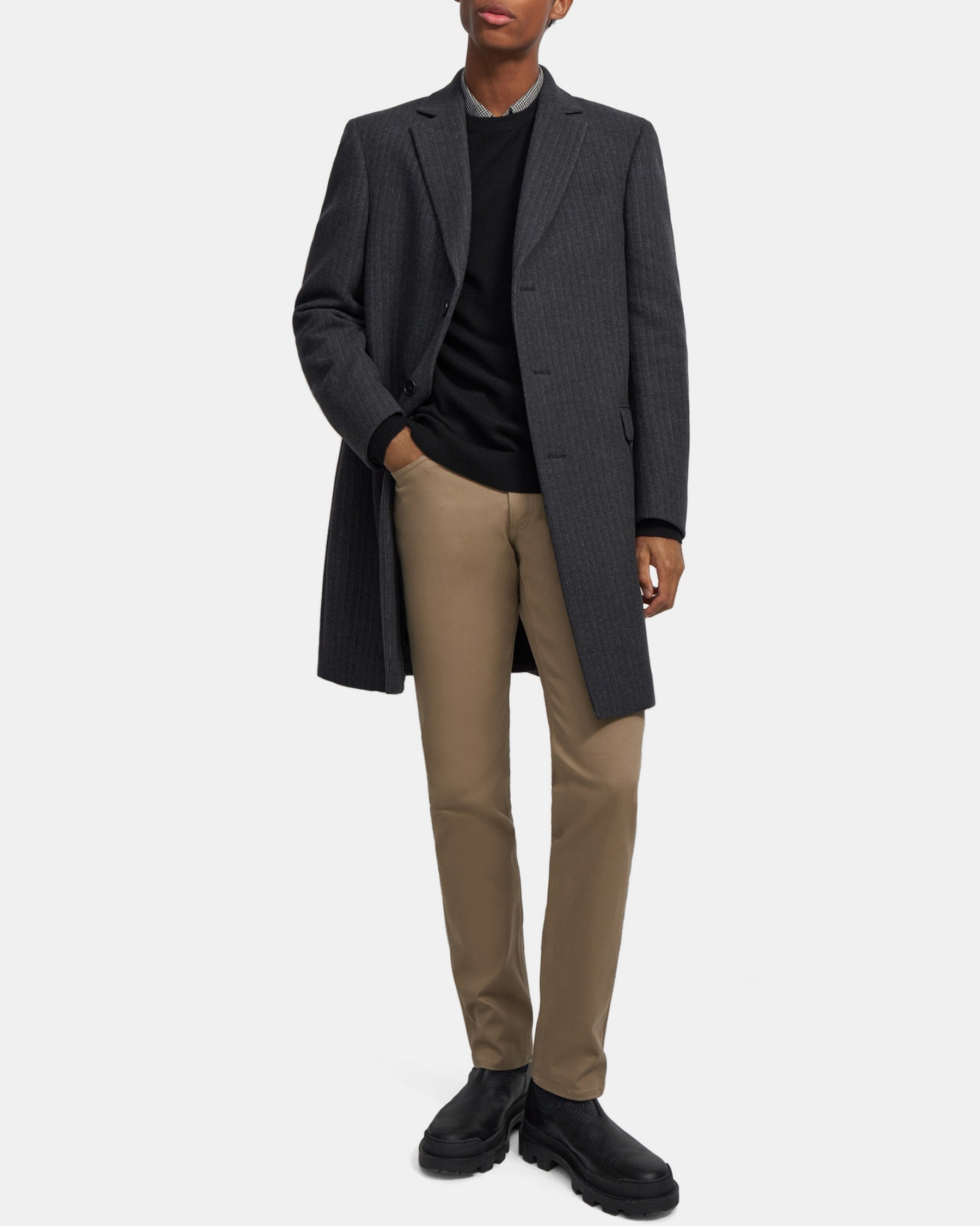 Theory Chambers Coat in Striped Wool Melton