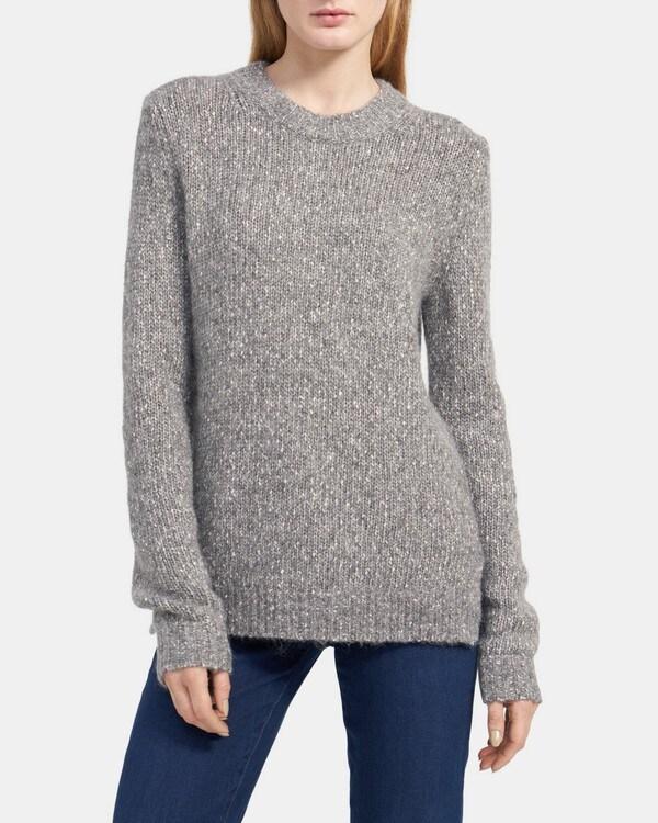 띠어리 Theory Speckled Crewneck Sweater in Tweed Alpaca,MEDIUM HEATHER GREY
