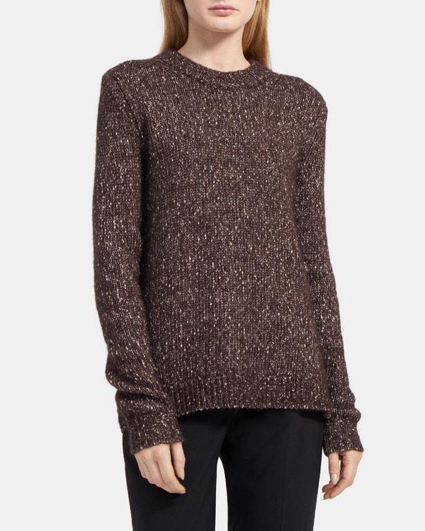 띠어리 Theory Speckled Crewneck Sweater in Tweed Alpaca,DARK BROWN
