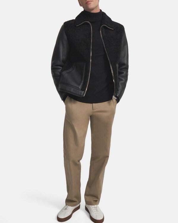 띠어리 Theory Stonem Jacket in Shearling,BLACK/BLACK