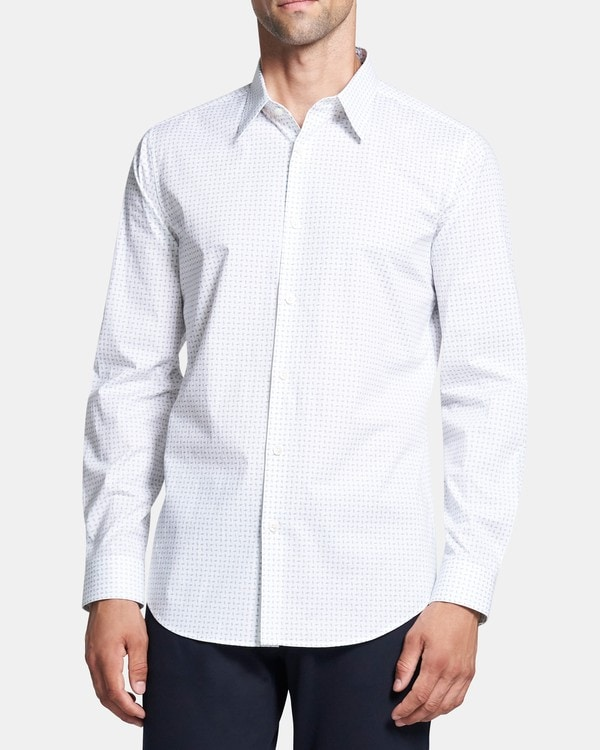 띠어리 맨 실뱅 셔츠 Theory Sylvain Shirt in Flecked Cotton,HARBOR MULTI