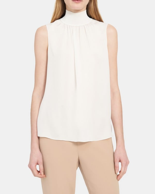 Theory Ribbed Neck Shell Top in Silk Combo