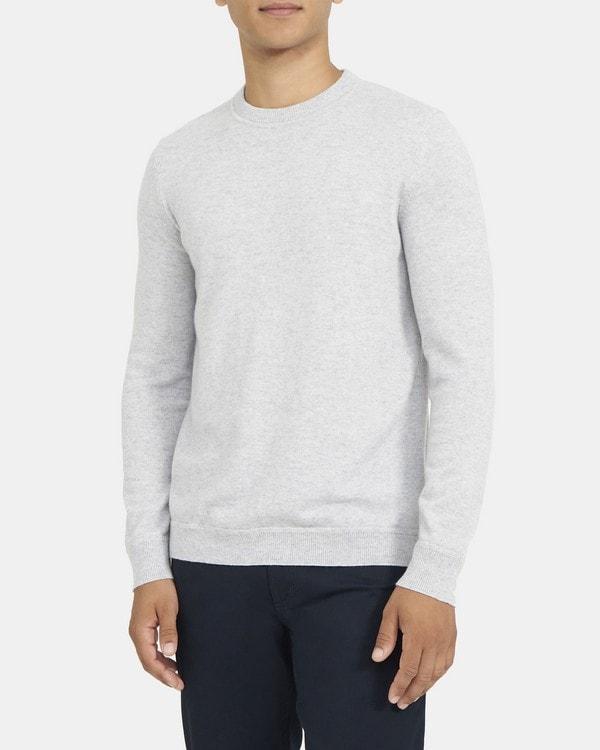 띠어리 맨 크루넥 스웨터, 100% 캐시미어 Theory Crewneck Sweater in Cashmere,WHALE GREY