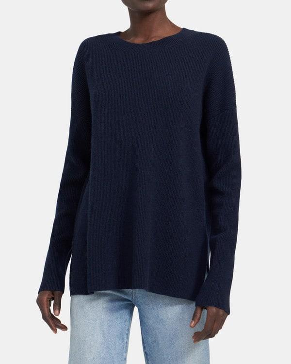 띠어리 Theory Crewneck Sweater in Ribbed Cashmere,INKWELL