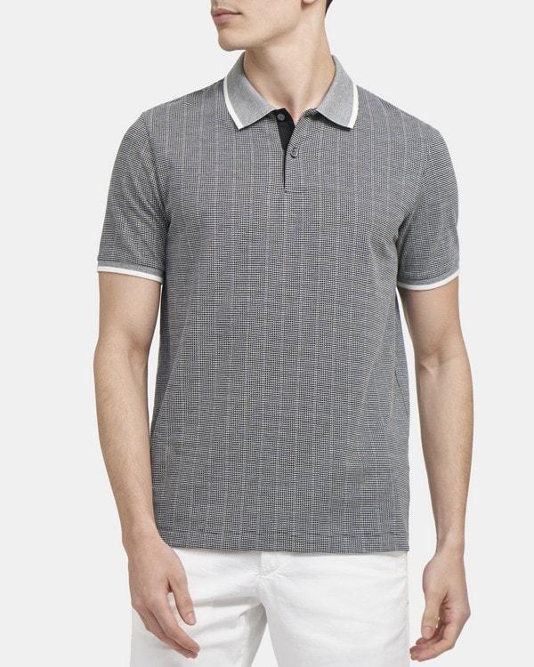 띠어리 Theory Contrast Band Polo Shirt in Jacquard Cotton,BLACK