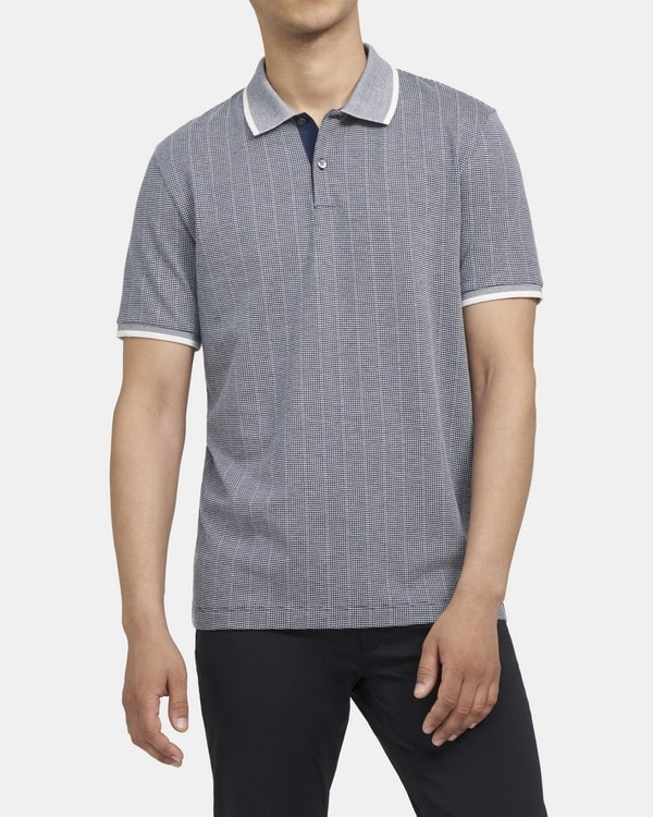 띠어리 Theory Contrast Band Polo Shirt in Jacquard Cotton,BRIGHT NAVY