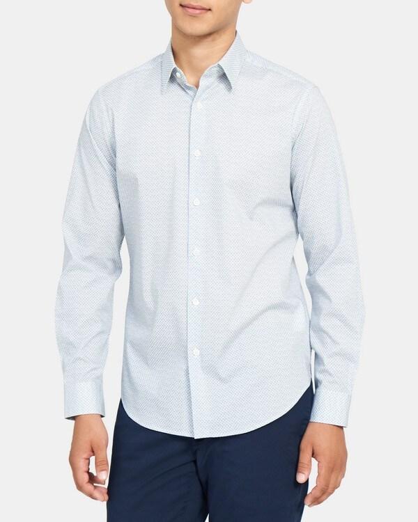 띠어리 Theory Tailored Shirt in Printed Stretch Cotton,WHITE MULTI