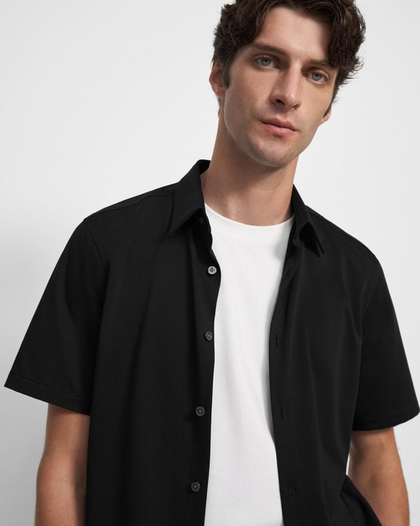 띠어리 셔츠 Theory Irving Short-Sleeve Shirt in Structured Knit,BLACK