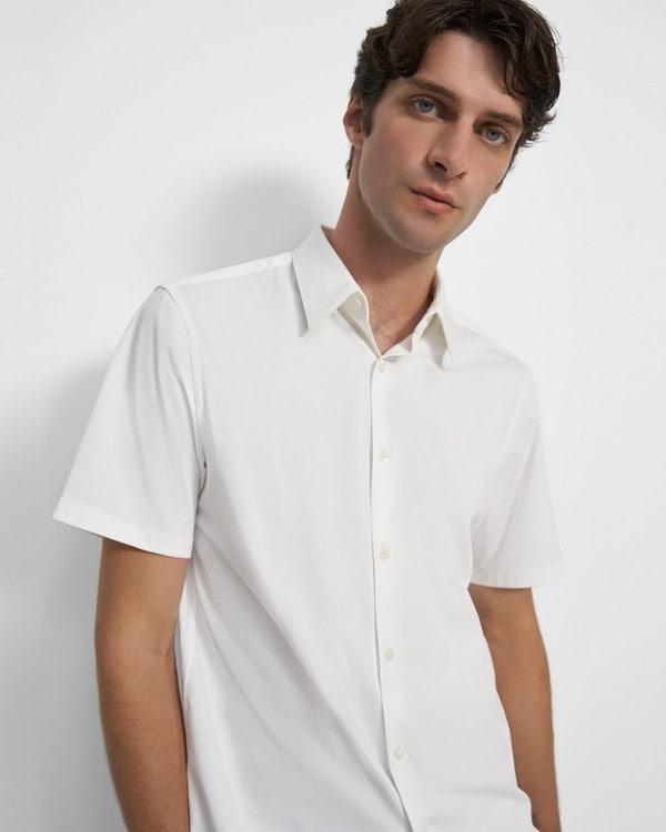 띠어리 셔츠 Theory Irving Short-Sleeve Shirt in Structured Knit,WHITE