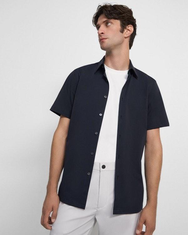 띠어리 셔츠 Theory Irving Short-Sleeve Shirt in Structured Knit,ECLIPSE