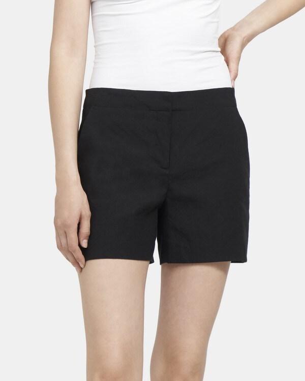 띠어리 Theory Clean Short in Stretch Linen,BLACK