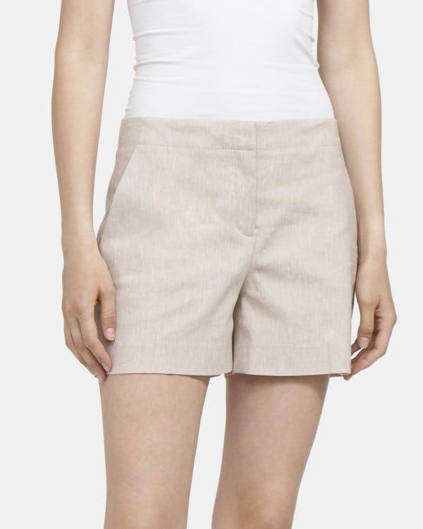 띠어리 Theory Clean Short in Melange Stretch Linen,WHEAT MELANGE