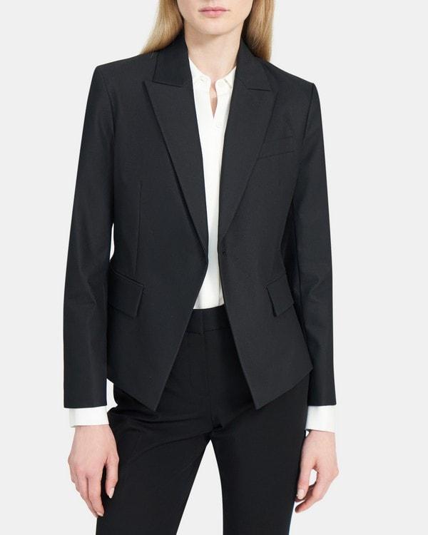 띠어리 Theory Modern Blazer in Cotton-Blend Twill,BLACK