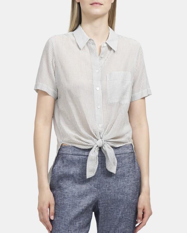 띠어리 Theory Tie-Front Shirt in Organic Cotton,NAVY MULTI