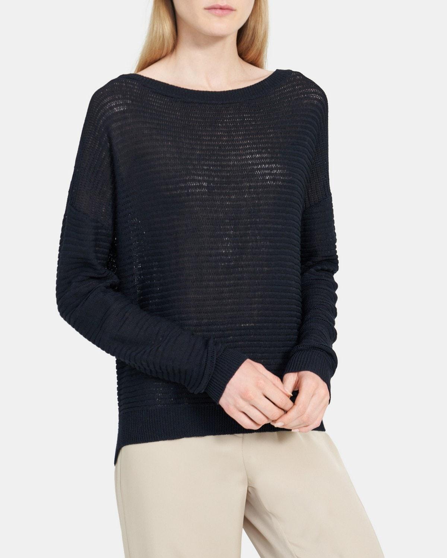띠어리 Theory Oversized Pullover in Cotton,DEEP NAVY