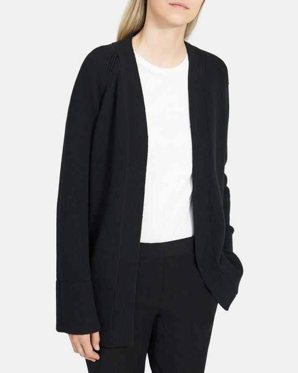 띠어리 Theory Open-Front Cardigan in Cotton Chainette,BLACK