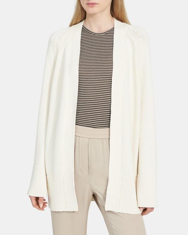 띠어리 Theory Open-Front Cardigan in Cotton Chainette,NATURAL