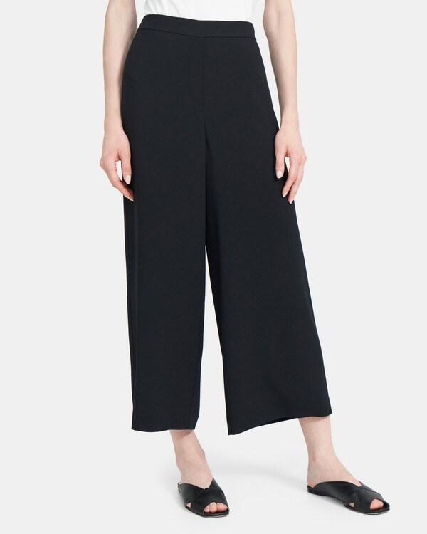 띠어리 Theory Drawstring Wide-Leg Pant in Crepe,BLACK