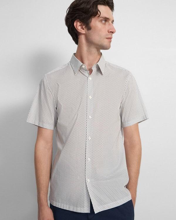 띠어리 셔츠 Theory Irving Short-Sleeve Shirt in Cotton,WHITE MULTI