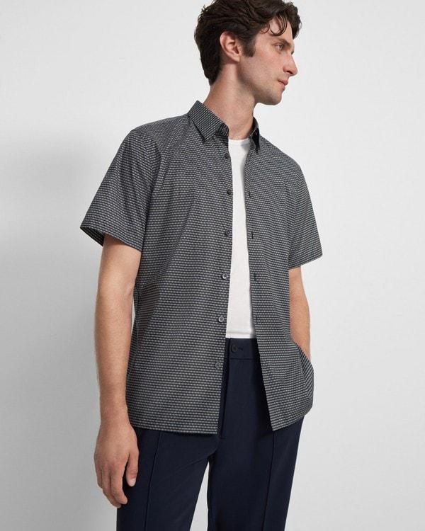띠어리 셔츠 Theory Irving Short-Sleeve Shirt in Cotton,BALTIC MULTI